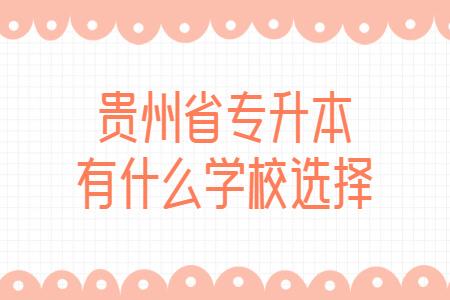 贵州省专升本有什么学校选择